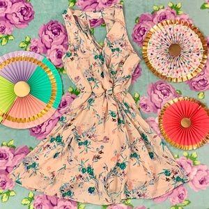 Lush Light Blush Pink Blue Floral Skater Dress XS